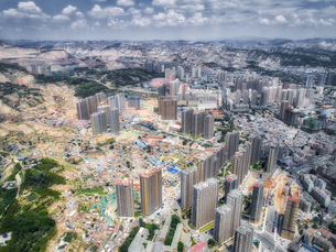 aerial photography of Lanzhou cityの写真素材 [FYI02946244]