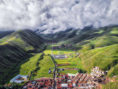 aerial photography of Xia he country,Chinaの写真素材 [FYI02946282]