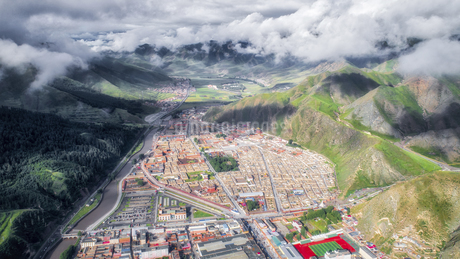 aerial photography of Xia He country,Chinaの写真素材 [FYI02946302]