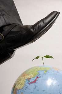 植物の生えた地球儀を踏みそうな足の写真素材 [FYI02947177]