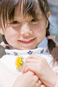 タンポポを持った女の子の写真素材 [FYI02948191]