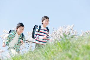 土手を歩く男子小学生の写真素材 [FYI02948205]