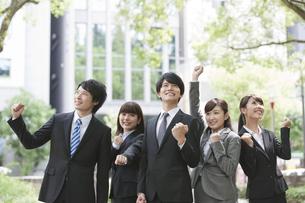 ガッツポーズをするビジネスマンとビジネスウーマン5人の写真素材 [FYI02950887]