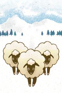 3匹の羊と雪景色 イラストのイラスト素材 [FYI02951856]