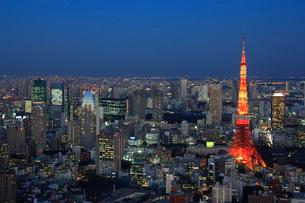 六本木から東京タワーの夕景の写真素材 [FYI02953028]