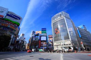 渋谷駅ハチ公口駅前スクランブル交差点周辺の写真素材 [FYI02953462]