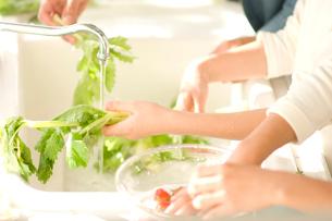 野菜を洗う日本人の女の子2人と父親の手元の写真素材 [FYI02953963]