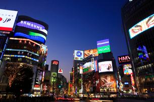 渋谷駅ハチ公口駅前スクランブル交差点周辺の夜景の写真素材 [FYI02954184]