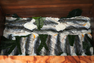桶に漬け込まれたアユの熟れ寿司の写真素材 [FYI02958164]