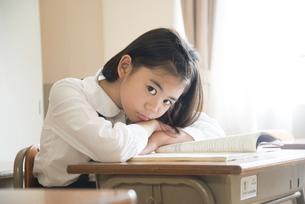 教室にいる制服姿の小学生の女の子の写真素材 [FYI02958282]