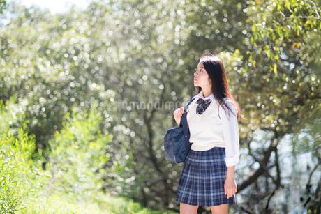 緑の中を歩いている制服姿の女子高生の写真素材 [FYI02958424]