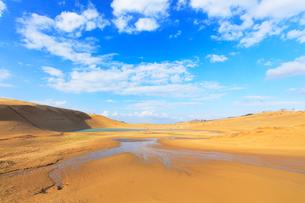 鳥取砂丘・池と空に雲の写真素材 [FYI02958535]