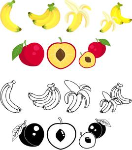 バナナとスモモの可愛いアイコンのイラスト素材 [FYI02958554]