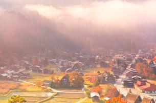 秋の白川郷 城山展望台より望む合掌造り集落に霧の写真素材 [FYI02958601]