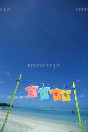 海辺で干したTシャツと青空 クラフトの写真素材 [FYI02958878]