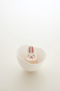 卵の殻の中の1匹のウサギ 干支のクラフトの写真素材 [FYI02959160]
