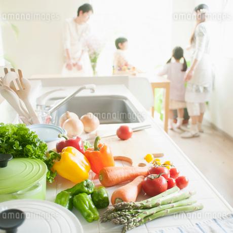 キッチンに並ぶ野菜の写真素材 [FYI02959196]
