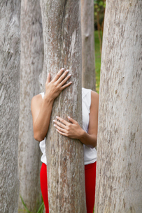 Woman behind tree trunkの写真素材 [FYI02960286]