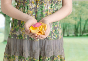 Midsection View of Woman Holding Petalsの写真素材 [FYI02960371]
