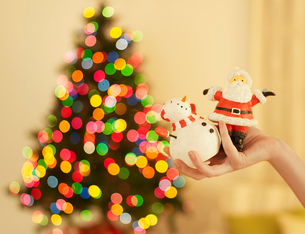 Hand Holding Christmas Decorationsの写真素材 [FYI02960773]