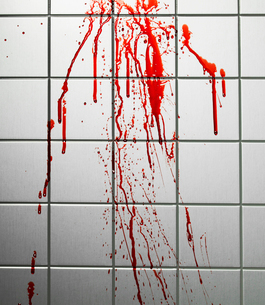 Blood on Tiled Wallの写真素材 [FYI02961072]