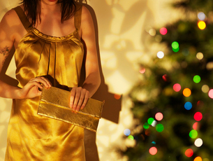 Woman Holding Purse by Christmas Treeの写真素材 [FYI02961206]