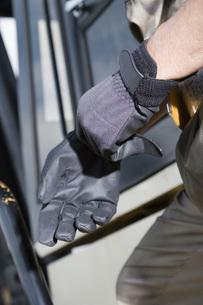 手袋をはめる手の写真素材 [FYI02964381]