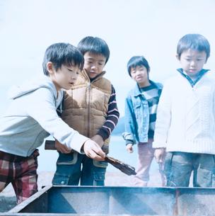 湖畔でBBQ用グリルに薪を入れる4人の男の子の写真素材 [FYI02966319]