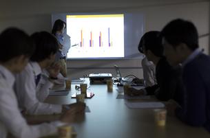 会議で説明をするビジネス女性と聞くスタッフの写真素材 [FYI02966442]
