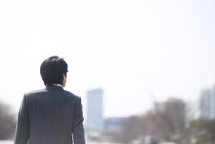遠くを眺めるビジネス男性の後ろ姿の写真素材 [FYI02966490]