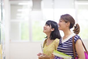 掲示板を見る2人の女子学生の写真素材 [FYI02966567]