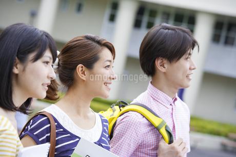 キャンパスで遠くを見る学生たちの写真素材 [FYI02966732]