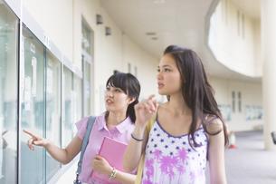 キャンパスの掲示板を見る2人の女子学生の写真素材 [FYI02966789]