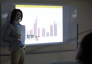 会議でグラフの説明をするビジネス女性の写真素材 [FYI02966937]