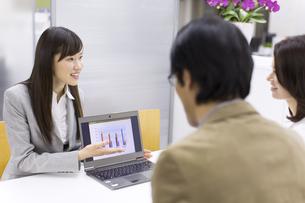 パソコンを使って接客するビジネス女性の写真素材 [FYI02967018]
