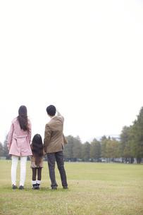 公園で手を繋いで微笑む家族の後ろ姿の写真素材 [FYI02967165]