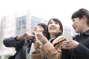 受験番号票を手に番号を確認している女子高校生たちの写真素材 [FYI02967326]