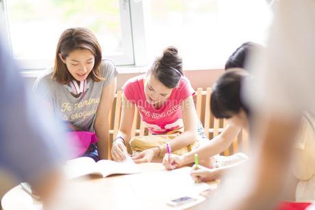 円形のテーブルで勉強する学生たちの写真素材 [FYI02967426]
