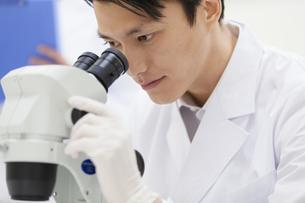 顕微鏡を覗く男性研究員の写真素材 [FYI02967432]