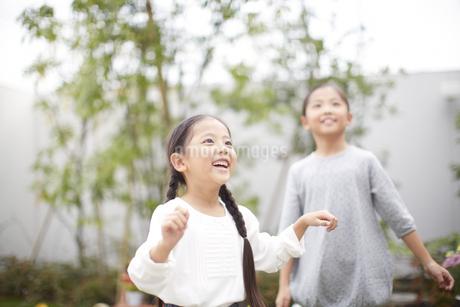 庭で上を見て笑う姉妹の写真素材 [FYI02967779]