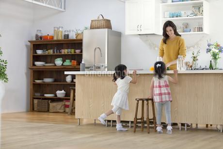 キッチンで料理の準備をする親子の写真素材 [FYI02968207]