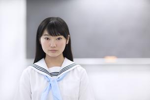黒板の前で立つ女子学生のポートレートの写真素材 [FYI02968383]