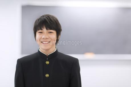 黒板の前で笑う男子学生のポートレートの写真素材 [FYI02968425]
