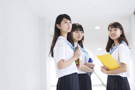 学校の廊下で教材を持って微笑む女子学生3人の写真素材 [FYI02968522]