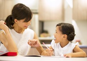 子供の勉強を見る母親の写真素材 [FYI02968576]