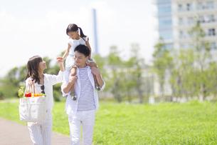 肩車して遊歩道を歩く家族の写真素材 [FYI02968588]