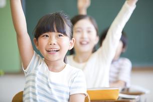 授業中に手を上げる小学生の女の子の写真素材 [FYI02968667]