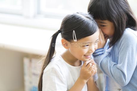 教室で内緒話をする女の子2人の写真素材 [FYI02968682]