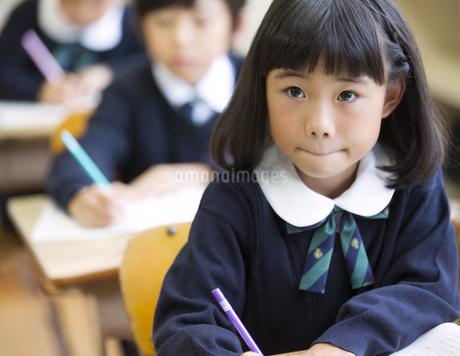教室で授業を受ける小学生の女の子の写真素材 [FYI02968704]