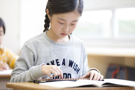 そろばんを使って計算をする女の子の写真素材 [FYI02968801]